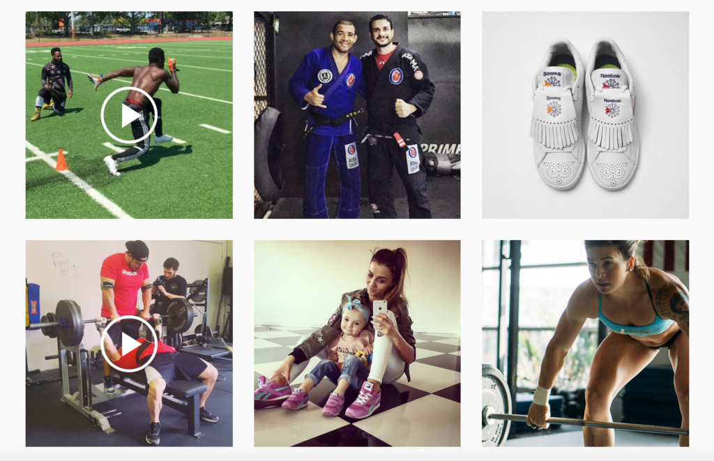 Instagram search for reebok
